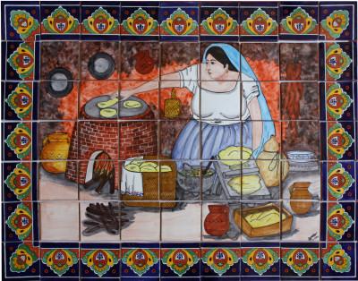 Tortilla maker clay talavera tile mural for Ceramic mural making