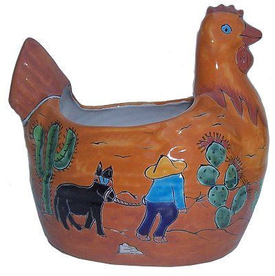 Desert Chicken Talavera Ceramic Planter