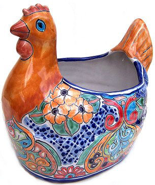 Multicolor Chicken Talavera Ceramic Planter