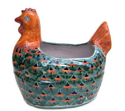 Green Peacock Chicken Talavera Ceramic Planter
