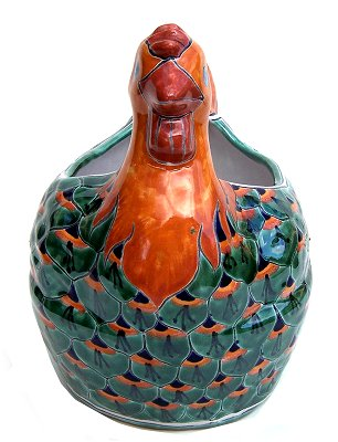 Green Peacock Chicken Talavera Ceramic Planter Close-Up