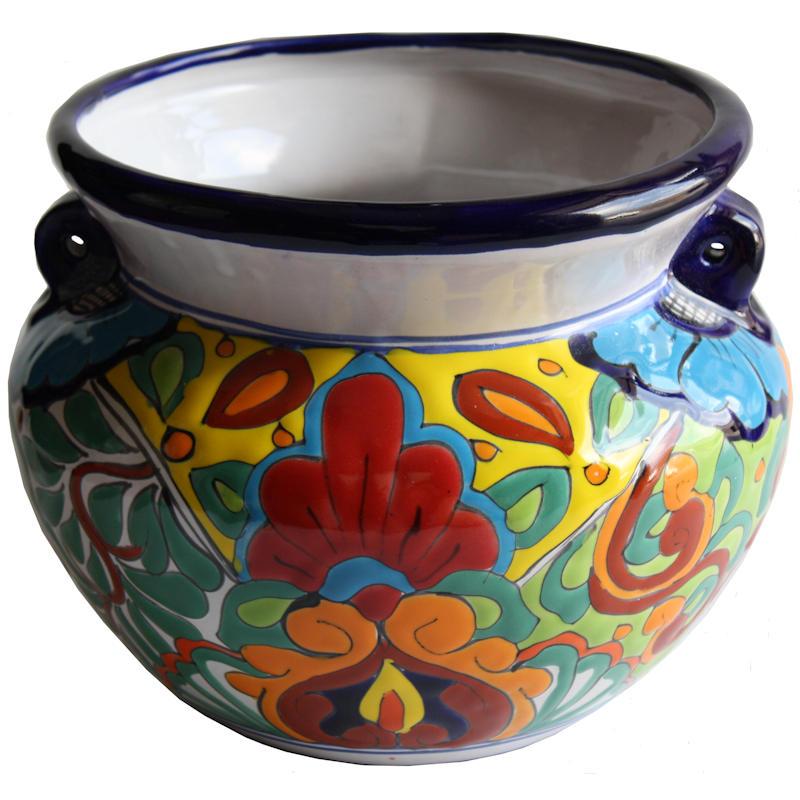 Small Sized Rainbow Mexican Colors Talavera Ceramic Garden Pot