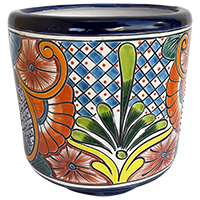 Medium Brushed Sunflower Talavera Ceramic Pot
