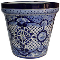 Medium Blue Deco Talavera Ceramic Pot