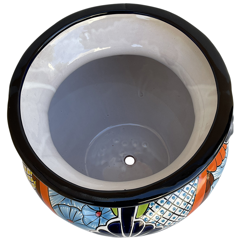 Desert Talavera Ceramic Pot Close-Up