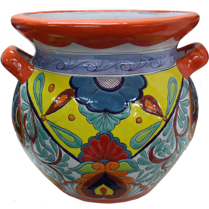 Huge Rainbow Talavera Ceramic Pot