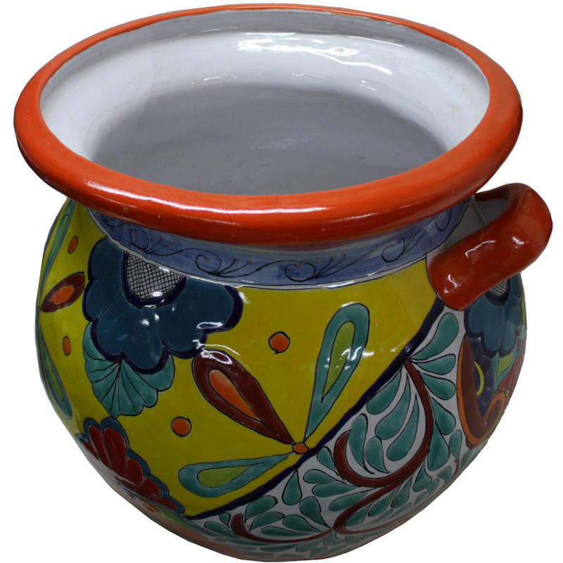 Huge Rainbow Talavera Ceramic Pot Close-Up