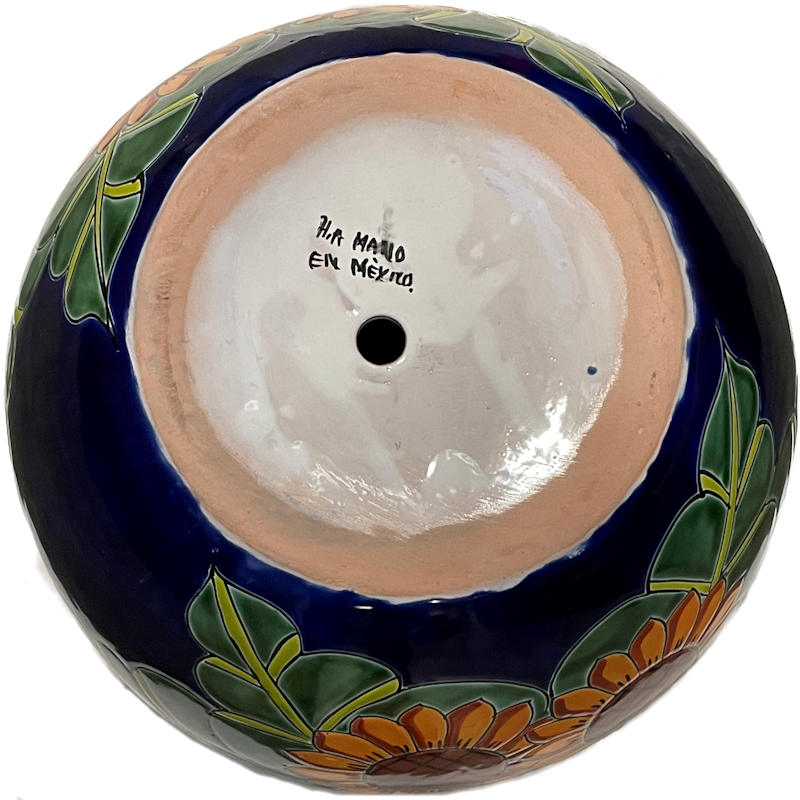 Medium Size Sunflowers Talavera Ceramic Pot Details