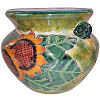 Brushed Green Sunflowers Talavera Ceramic Pot