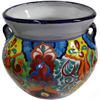 Medium Size Rainbow Talavera Ceramic Pot