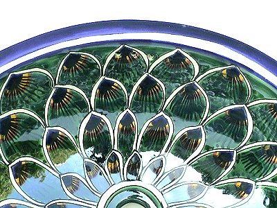 Green Peacock Ceramic Talavera Sink Close-Up
