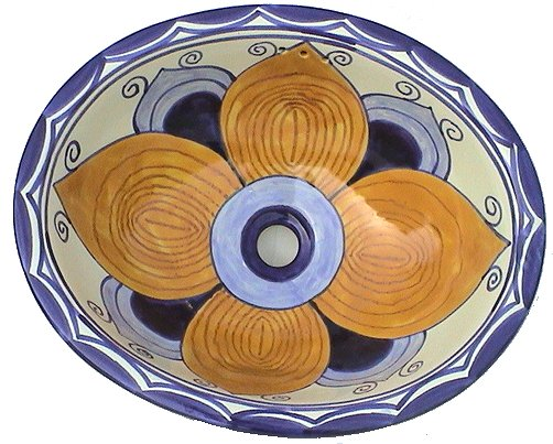 Big Flower Ceramic Talavera Sink