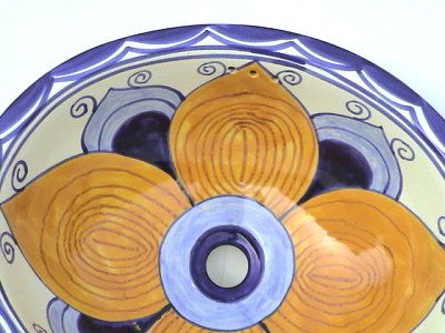 Big Flower Ceramic Talavera Sink Close-Up