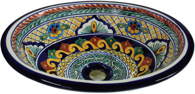 Yellow Greca Ceramic Talavera Sink Close-Up