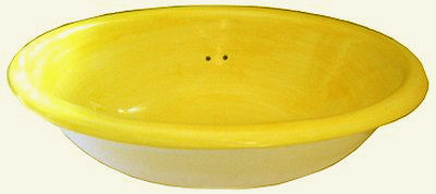 Small Washed Yellow Talavera Ceramic Sink Close-Up