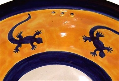 Lizard Ceramic Talavera Sink Close-Up