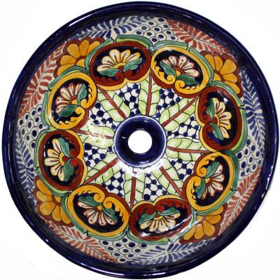 Greca C Round Ceramic Talavera Vessel Sink Close Up
