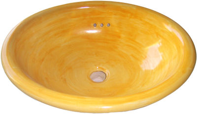 Small Washed Mango Talavera Ceramic Sink Close-Up