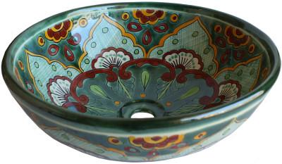 Green Greca Round Ceramic Talavera Vessel Sink