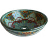 Green Greca Round Ceramic Talavera Vessel Sink