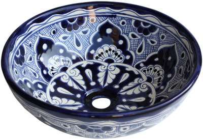 Blue Round Ceramic Talavera Vessel Sink