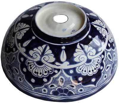 Blue Round Ceramic Talavera Vessel Sink Details