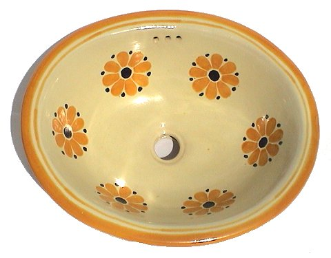 Yellow Daisy Ceramic Talavera Sink