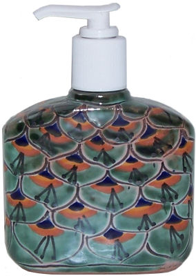 Green Peacock Talavera Soap Container