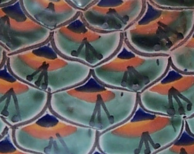 Green Peacock Talavera Soap Container Close-Up
