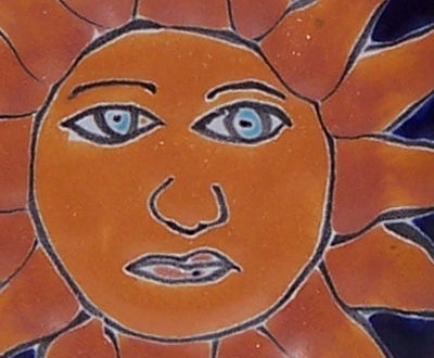 Sun Talavera Soap Container Close-Up