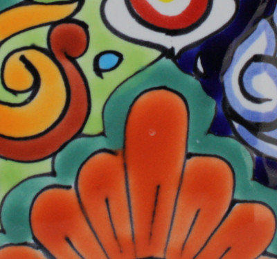 Small Rainbow Talavera Soap Container Close-Up