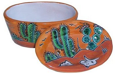 Desert Talavera Ceramic Soap Dish Close-Up