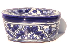 Blue Talavera Soap Dish Close-Up