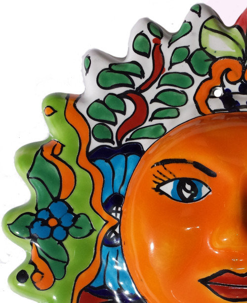 Multicolor Small Talavera Ceramic Sun Face Close-Up
