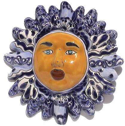 Blue/White Small Talavera Ceramic Sun Face