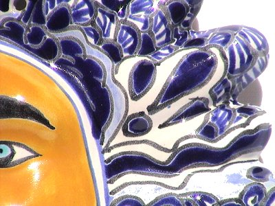 Blue/White Small Talavera Ceramic Sun Face Close-Up