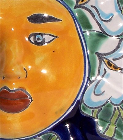 Lily Small Talavera Ceramic Sun Face Close-Up
