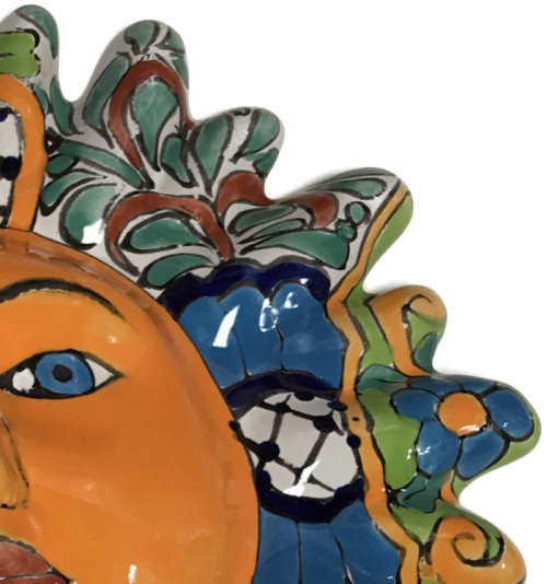 Multicolor Talavera Ceramic Sun Face Close-Up