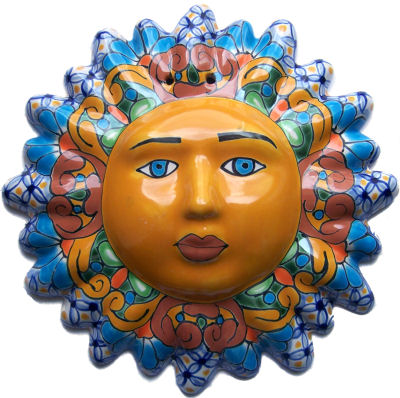 Multicolor Talavera Ceramic Sun Face Details