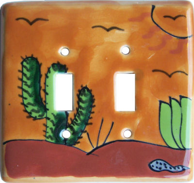 Desert Talavera Ceramic Double Toggle Switch Plate