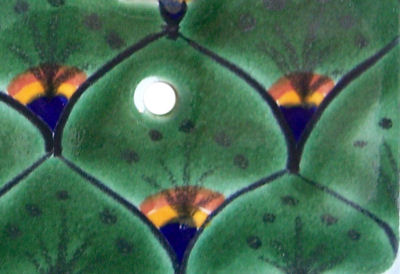 Peacock Talavera Ceramic Double Switch Plate Close-Up