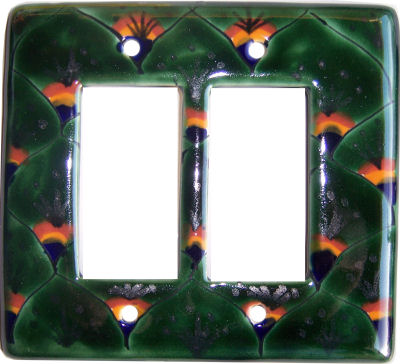 Peacock Talavera Double Decora Switch Plate