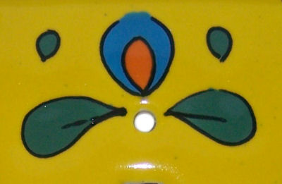 Canary Talavera Triple Toggle Switch Plate Close-Up