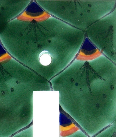 Peacock Talavera Triple Toggle Switch Plate Close-Up