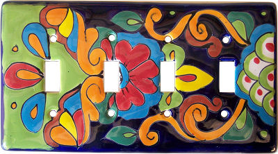 Rainbow Talavera Quadruple Toggle Switch Plate