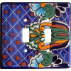 Double Toggle Blue Mesh Talavera Ceramic Switch Plate