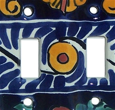 Double Toggle Marigold Talavera Ceramic Switch Plate Close-Up