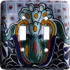 Double Toggle Black Turtle Talavera Ceramic Switch Plate