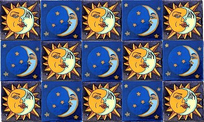 Sun & Moon Talavera Ceramic Tile