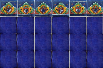 Cobalt Blue Talavera Mexican Tile Close-Up